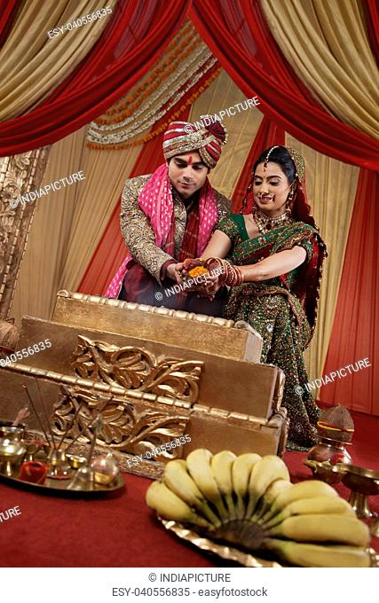 Beautiful Indian couple during their wedding ceremony