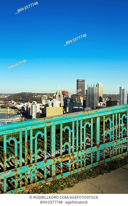 Old Rusty Metal Fence Downtown Skyline Mount Washington Pittsburgh Pennsylvania Usa