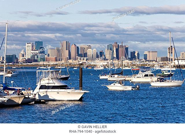City skyline and boats moored in the harbour, Boston, Massachusetts, New England, United States of America, North America