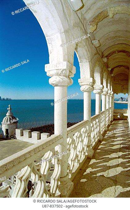Portugal, Lisbon, Belem Tower, Arches And View Of River Tejo