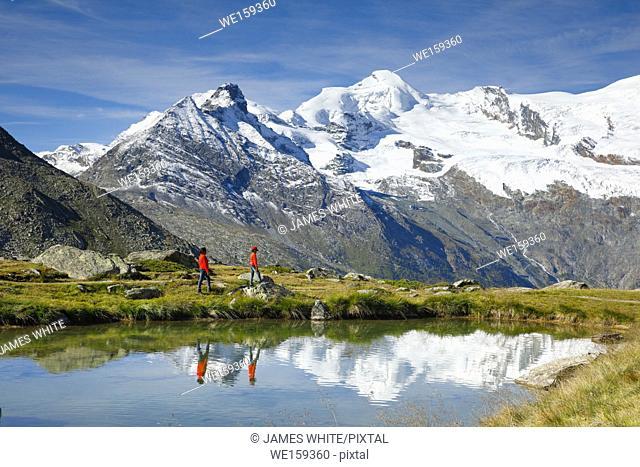 Allalinhorn, Alphubel and mountain lake, Switzerland