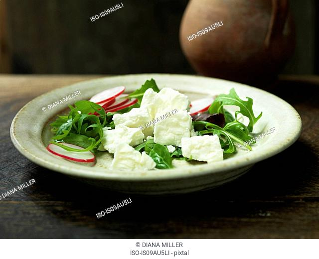 Greek feta cheese in a salad with sliced radishes and rocket