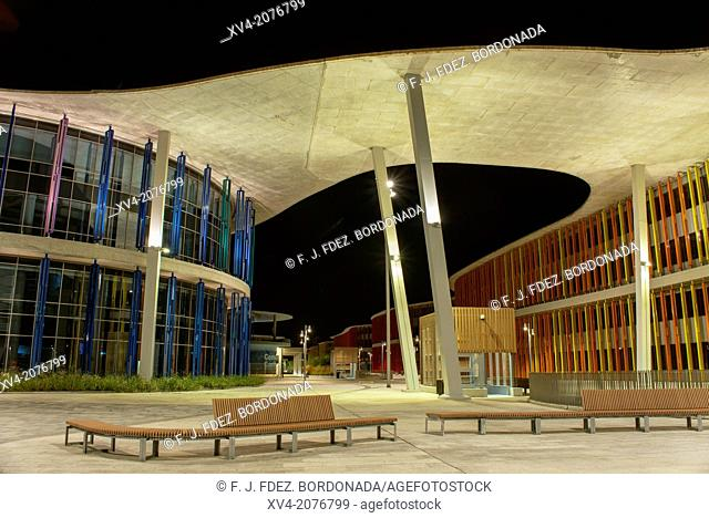 Modern architecture of pavilions in Expozaragoza area in the night, Saragossa, Aragón, Spain
