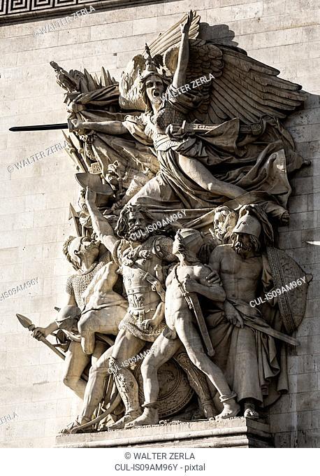 Detail of sculpture on Pont Alexandre III, Paris, France