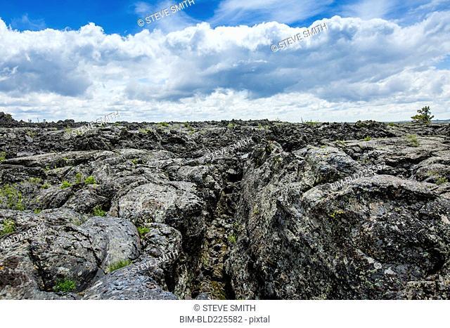 Lava rock under clouds