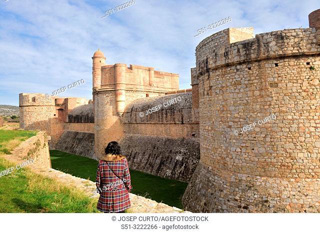 tourist in the Fort de Salses, Salse le Chateau, Languedoc-Roussillon, France