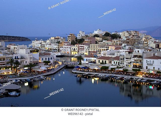 View of Agios Nikolaos at Dusk, Crete, Greek Islands
