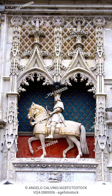 Statue of Louis XII at Chateau de Blois, Loire et Cher, Pays de la Loire, Loire Valley , UNESCO World Heritage Site, France.