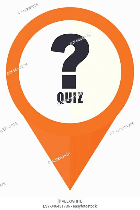 Quiz orange pointer vector icon in eps 10 isolated on white background