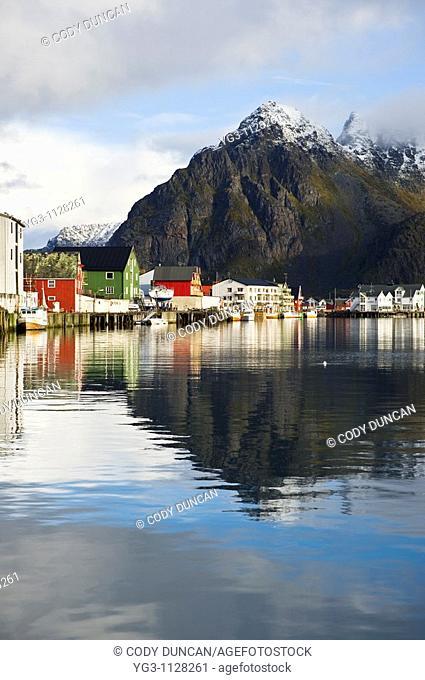 Mountain reflection in harbor, Henningsvær, Lofoten islands, Norway
