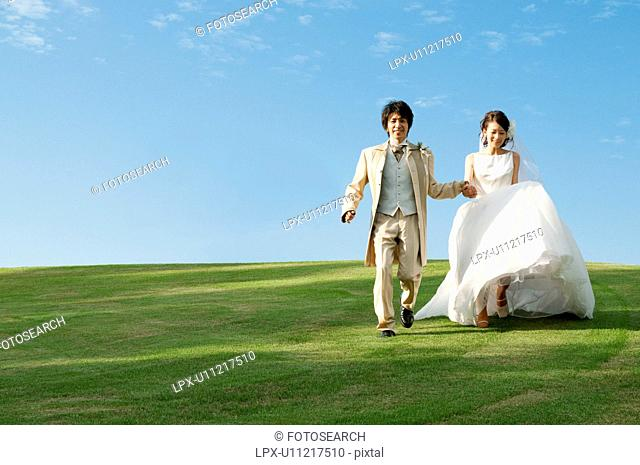 Bride and bridegroom holding hands
