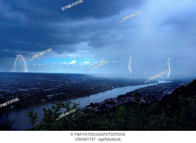 Storm and lightning, Rhein River, Germany
