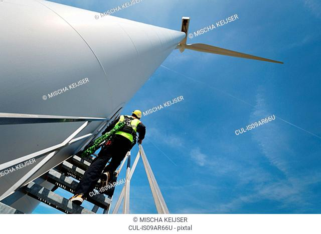 Maintenance worker standing on a modern wind turbine, Biddinghuizen, Flevoland, Netherlands