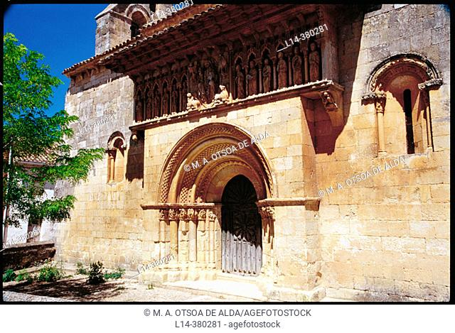 Romanesque church of San Pedro dating from 12th century, Moarves de Ojeda. Palencia province, Spain