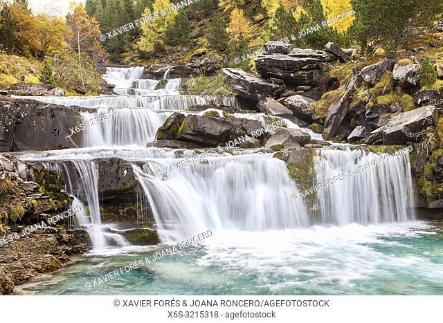 Waterfall of Gradas de Soaso, Ordesa Valley, National Park of Ordesa and Monte Perdido, Huesca, Spain