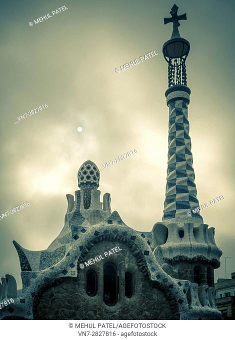 Roof detail on the Porter's Lodge building in Parc Guell, Barcelona, Catalonia, Spain