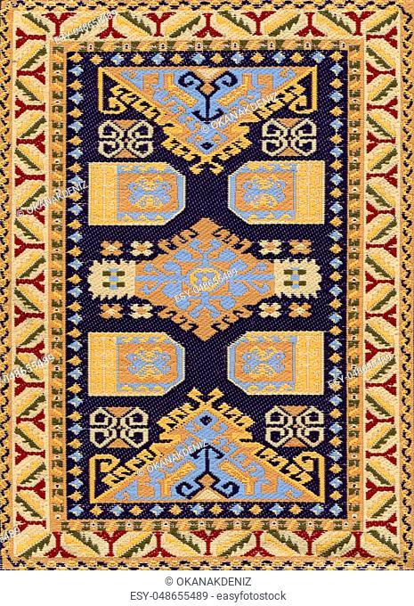 Traditional Ethnic Antique Carpet Textile