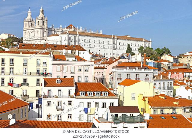 Panoramic of Alfama rooftops, one of the most popular neighborhoods of Lisbon, Portugal