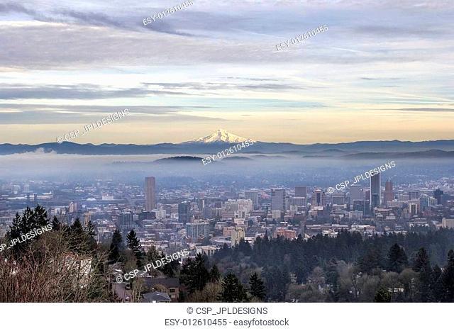 Portland Downtown Foggy Cityscape