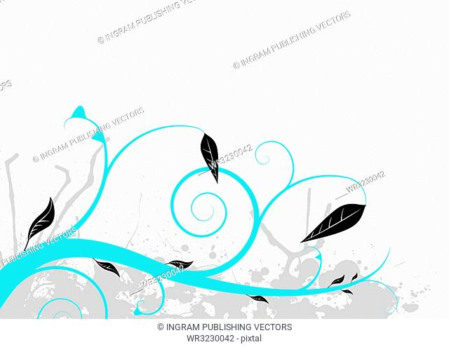 Natural background in blue and grey with black leaves