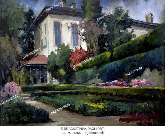 Villa Gola in Calco, 1931, painting by Riccardo Brambilla (1871-1965), oil on canvas, 70x54 cm.  Lecco, Galleria Comunale D'Arte Villa Manzoni (Art Gallery)
