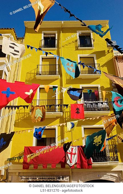 building and flags in Cocentaina during Feria de Tots els Sants, Cocentaina, Alicante, Comunidad Valenciana, Spain,Europe