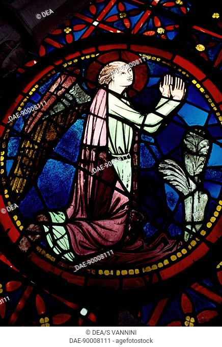 Figure of an angel, detail from the rose window of the north transept of the the primatial Cathedral of Saints John the Baptist and Stephen, Lyon, Rhone-Alpes