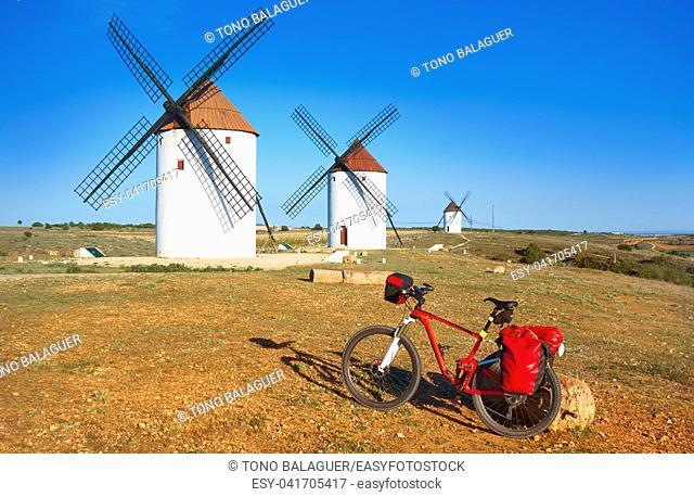 Mota del Cuervo windmills pilgrim bike in Cuenca at Castile la Mancha of spain