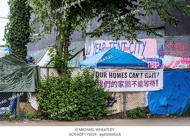 Homeless Tent City, Main Street, Vancouver, British Columbia, Canada