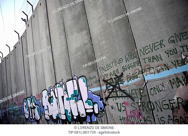Israel, West Bank, Bethlehem, the security wall with murals