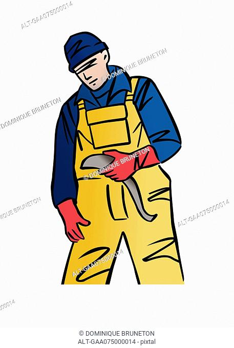 Illustration of a commercial fisherman