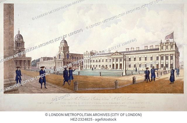 View of Greenwich Hospital with residents in the foreground, London, 1830