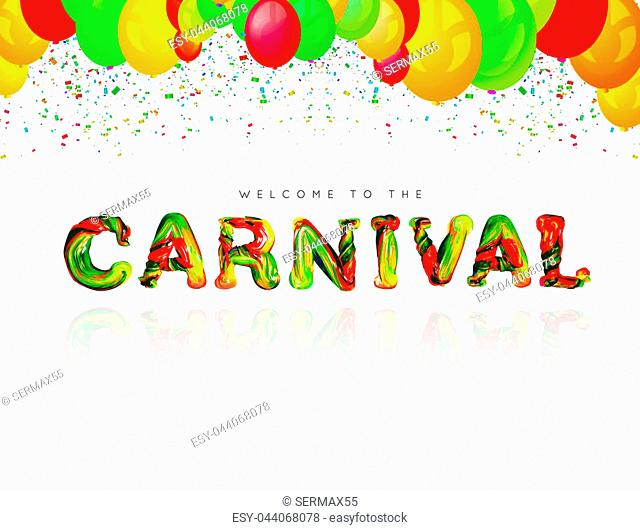Colorful 3d text carnival. illustration on white background