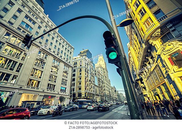 Gran Via street at magic hour. Madrid, Spain