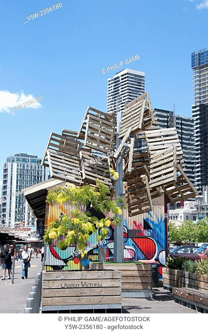 Pallet tree sculpture at Queen Victoria Market, Melbourne, Victoria, Australia