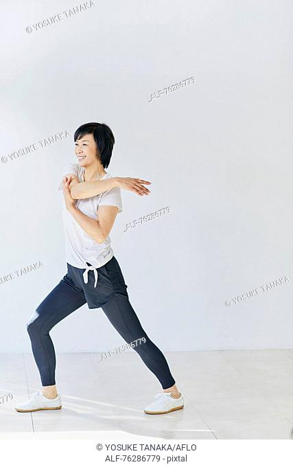 Japanese senior woman training