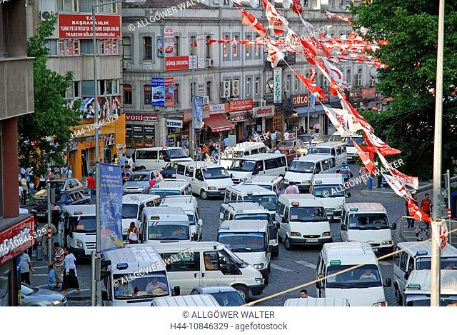 Trabzon city, Turkey, Black sea, traffic jam, transporter, cars, taxis, scene, street, flags, town