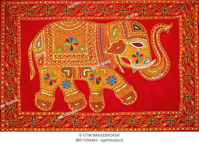 Elephant on a red tapestry, Jaisalmer, Thar Desert, Rajasthan, India, South Asia