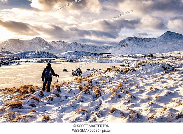 UK, Scotland, Rannoch Moor, Loch Ba and Black Mount Mountain Range, Female walker