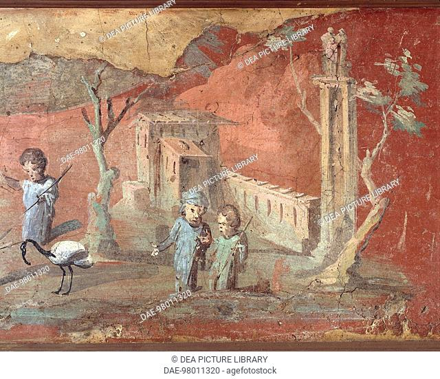 Roman civilization, 1st century A.D. Nilotic scenes with pygmies, 55-79 A.D., painting on plaster, 56x217 cm. From Pompei. Detail