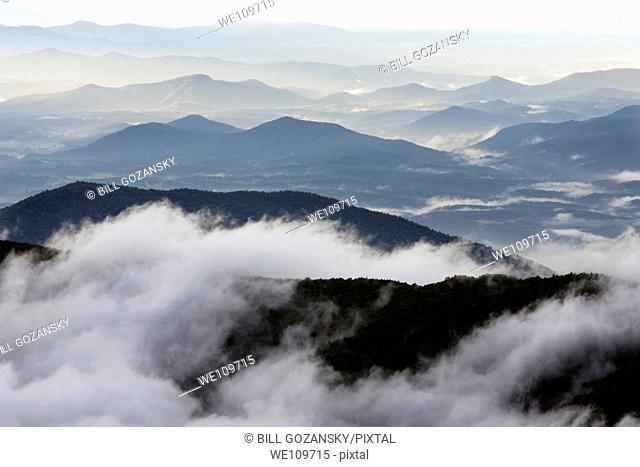 View of Blue Ridge Mountains from Mount Mitchell State Park - near Burnsville, North Carolina