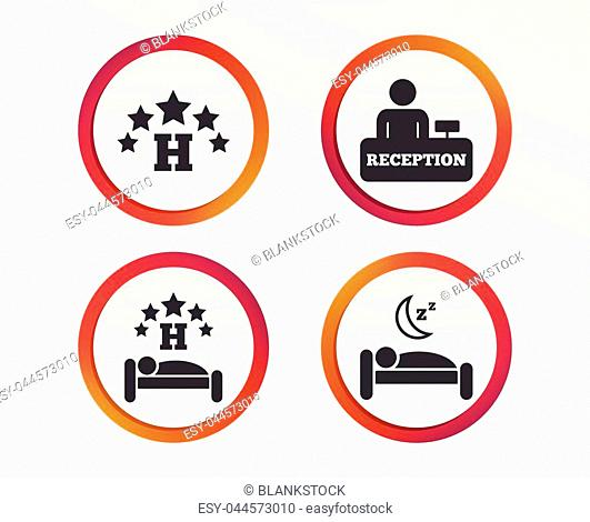 Five stars hotel icons. Travel rest place symbols. Human sleep in bed sign. Hotel check-in registration or reception. Infographic design buttons