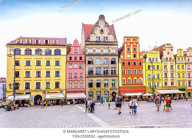 People walking in the Old Town, Market Square, Wroclaw, Poland, Europe, Summer 2015