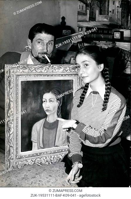 Nov. 11, 1953 - Daddy Made This Portrait- Customs Official And Painter: Twelve-Year Old Daniele, Daughter Of M. Barre Armand Proudly Shows Her Portrait Painted...