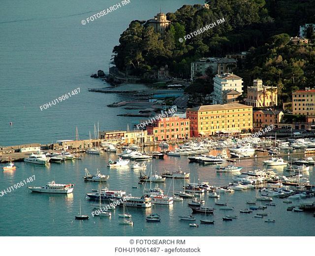 Liguria, Italy, Santa Margherita Ligure, Riviera di Levante, Ligurian Riviera, Europe, Scenic view of the resort town of Santa Margherita Ligure along the...