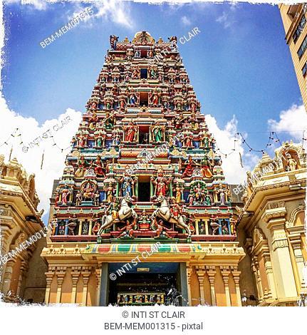 Sri Mahamariamman temple under blue sky, Kuala Lumpur, Malaysia