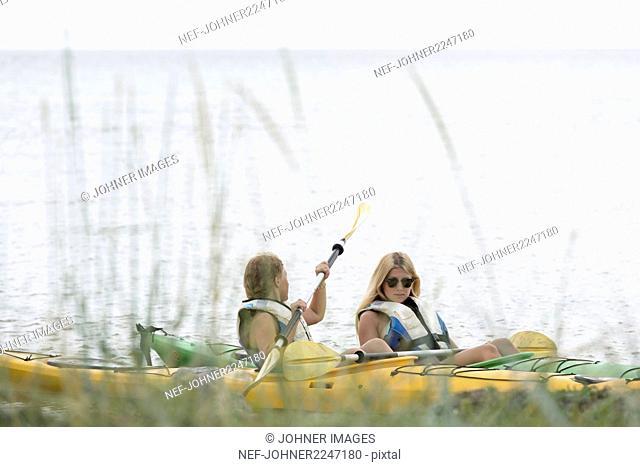 Young women kayaking