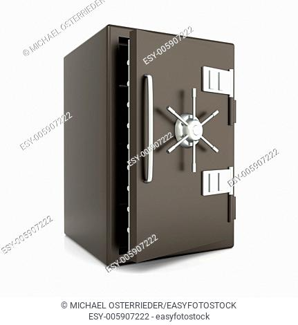 A open bank safe. 3D rendered Illustration. Isolated on white
