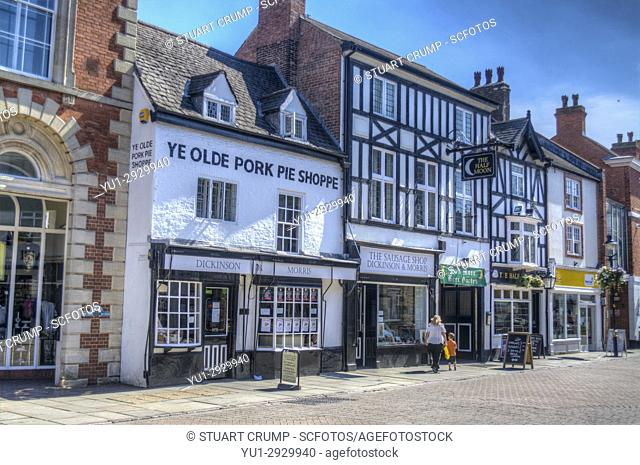HDR image of Ye Olde Pork Pie Shoppe, the Dickinson & Morris Sausage shop and Half Moon Pub on Nottingham Street in Melton Mowbray Leicestershire UK