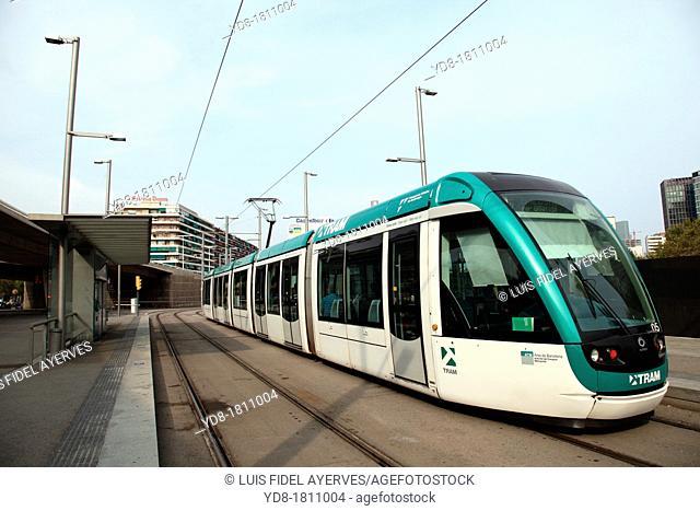 Tram, Plaça de les Glories, Barcelona, Spain, Europe
